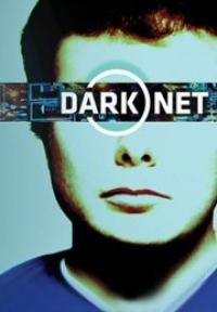 Cartaz da série Dark Net com jovem de cabelo ruivo vestindo camisa azul aparece vendado por uma faixa preta com símbolos digitais que possui o nome da série escrito em fonte branca.